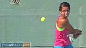 Jasmine Almageur cranks back for her backhand at the 2013 iTennis/Andulka Park Adult Open Tennis Championships.